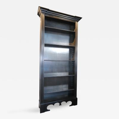 Custom Tall Ebonized Bookcase with Adjustable Shelves
