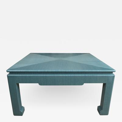 Custom Turquoise Grasscloth Wrapped Cocktail Table