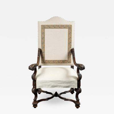 Custom Upholstered Antique Hall Chair