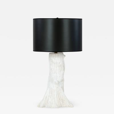 Custom White Faux Bois Ceramic Lamp