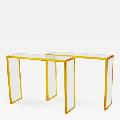 Custom Yellow and Clear Lucite Consoles