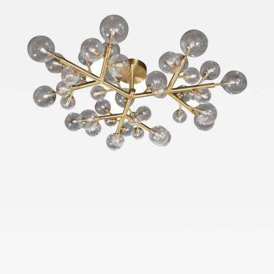 Custom and Exclusive Brass and Murano Glass Molecular Snowflake Chandelier