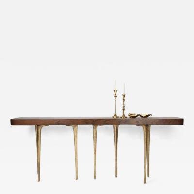 Customizable Thicket Console Table Wood and Cast Aluminum by AKMD Collection
