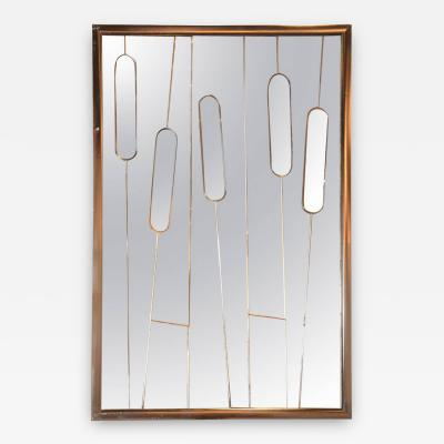 Cut Glass Mid Century Modern Cat Tails Mirror with Brass Frame