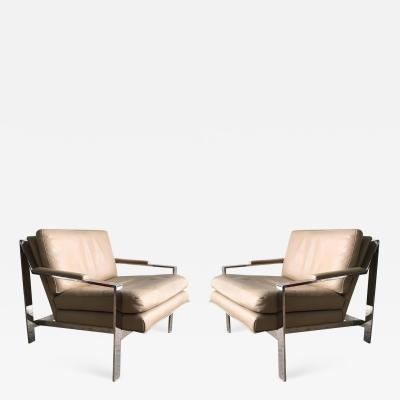Cy Mann Pair of Cy Mann Leather and Chrome Armchairs in Milo Baughman Style