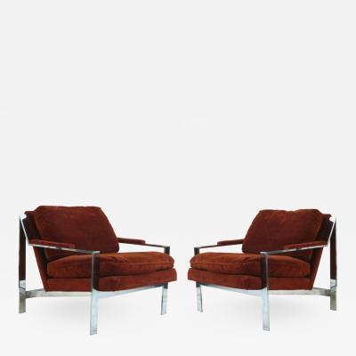 Cy Mann Pair of Cy Mann Mid Century Modern Chrome Lounge Chairs