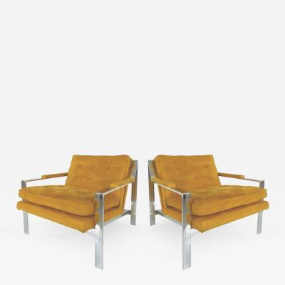 Cy Mann Pair of Mid Century Modern Chrome Chairs By Cy Mann