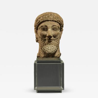 Cypriot Limestone Head of a Man Cypro Archaic circa 525 500 B C