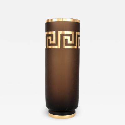 Czech Amber Glass Vase Gold Luster Greek Key Motif Decoration