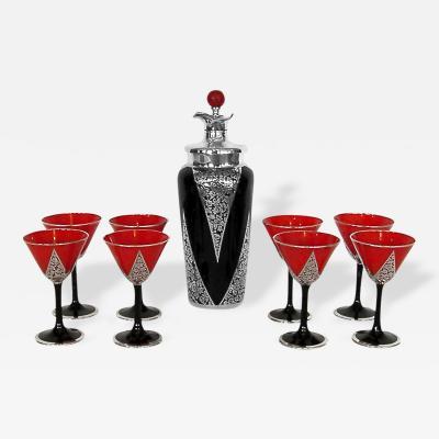 Czech Sterling Overlay Art Deco Cocktail Shaker w 8 Glasses