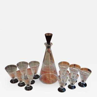 Czech Streamline Art Deco Decanter Set