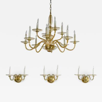 Czech bohemian blown glass and brass 12 arm chandelier 3 wall sconces