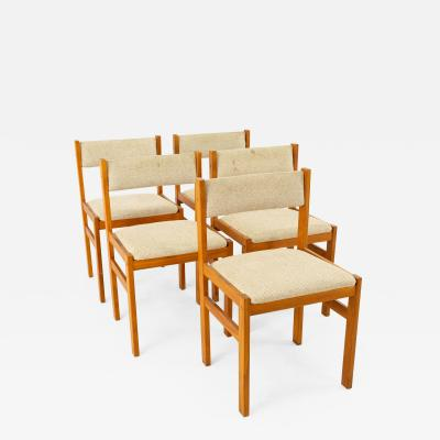 D Scan Mid Century Teak Upholstered Dining Chairs Set of 5