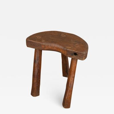 D Shaped 19th Century Rustic Stool