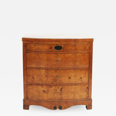DANISH EMPIRE BOW FRONT CHEST OF DRAWERS