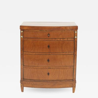 DANISH EMPIRE CHEST OF DRAWERS WITH CURVED FRONT CIRCA 1810