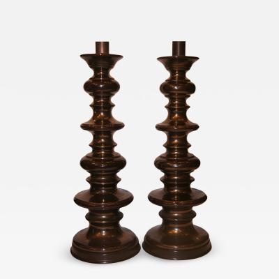 DARK BROWN PORCELAIN LAMPS