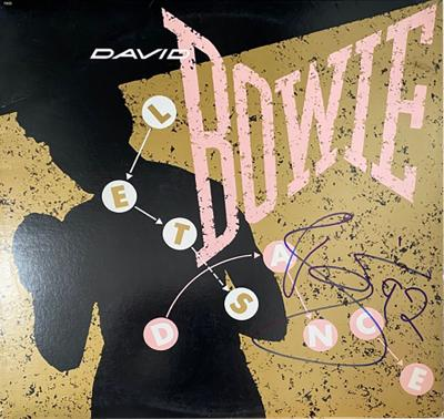 DAVID BOWIE LETS DANCE AUTOGRAPHED ALBUM COVER