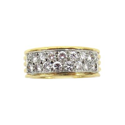 DAVID WEBB DIAMOND PLATINUM 18KT GOLD WEDDING BAND STYLE RING