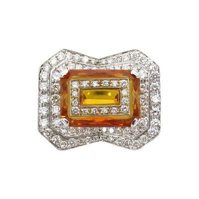 DIAMOND CITRINE GEOMETRIC RING