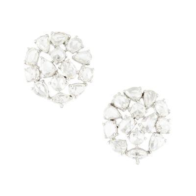 DIAMOND ROSE CUT ROUND EARRINGS 18 KARAT WHITE GOLD