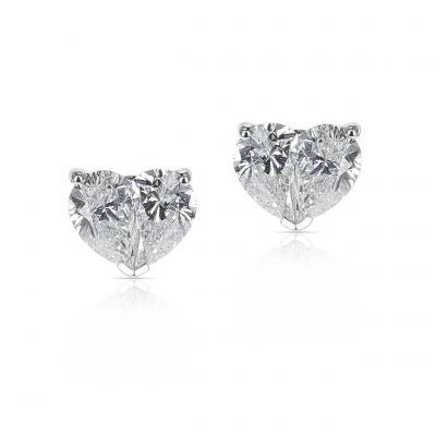 DIAMOND TWO PEAR HEART SHAPE STUDS 18K WHITE GOLD