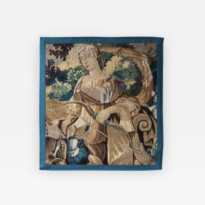 DIANA AND HER BOW AUBUSSON TAPESTRY FRAGMENT MID 18TH CENTURY