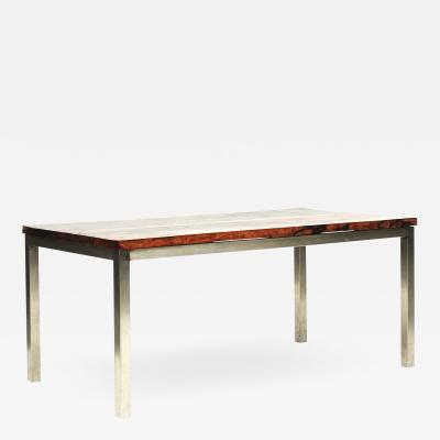 DINING TABLE WITH NARRA HARDWOOD TOP AND CHROME BASE