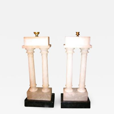 DOUBLE COLUMN CARVED ALABASTER TABLE LAMPS