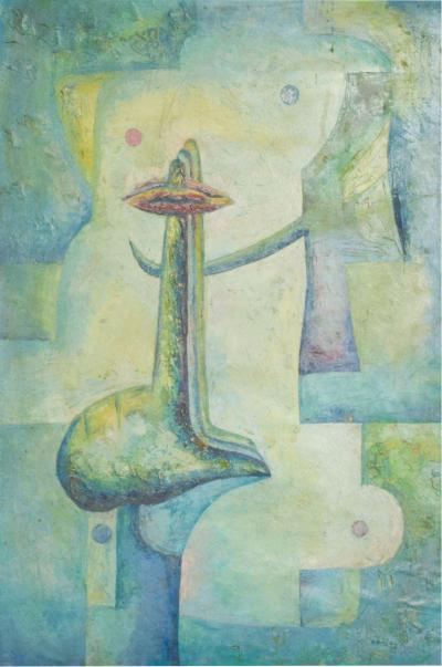 DREJEL DREJEL Ruptura Surrealism Art Abstract Oil Canvas in Aqua by Drejel 1970s