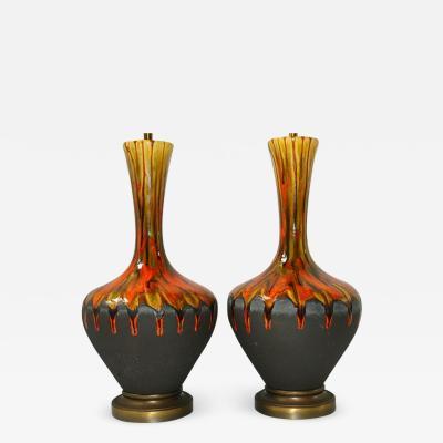 DRIP GLAZE PORCELAIN TABLE LAMPS