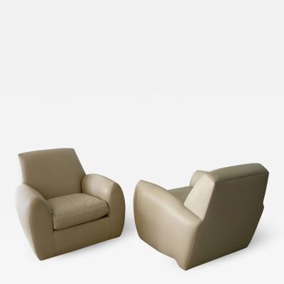 Dakota Jackson A Pair of American Modern Ken Zu Leather Club Chairs Dakota Jackson