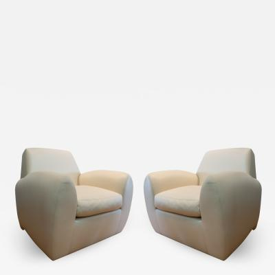 Dakota Jackson Pair of White Dakota Jackson Leather Ke Zu Chairs