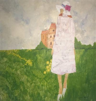Dale Caran SIGNED 1970S FASHIONABLE WOMAN IN FIELD OF FLOWERS PAINTING