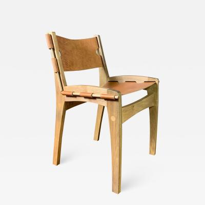 Dan Bursztyn Quilpo Dining Chair Saddle Leather Zoita Wood