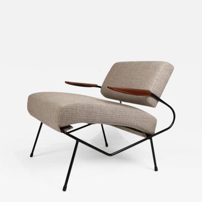 Dan Johnson Dan Johnson Iron Lounge Chair with Bent Walnut Plywood Armrests