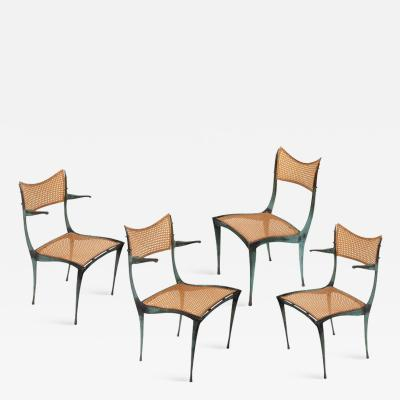 Dan Johnson Dan Johnson Patinated Bronze and Cane Gazelle Chairs