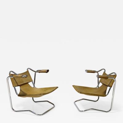 Dan Johnson Leather Sling Chairs 1970