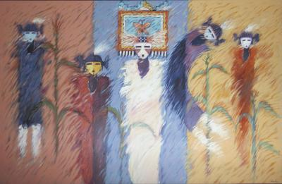 Dan Namingha Corn Maidens and Butterfly Maiden Large Horizontal Painting Yellow Blue Red