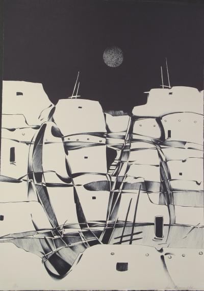 Dan Namingha Night Pueblo Black White Landscape Lithograph Dan Namingha