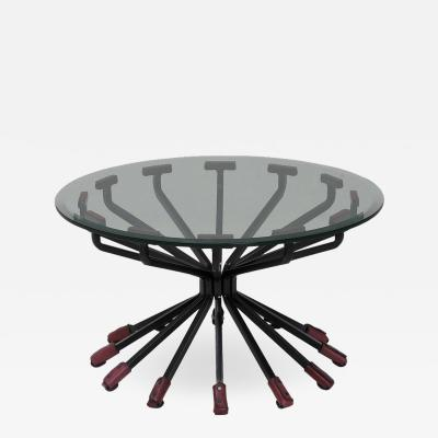 Dan Wenger Coffee Table with Glass Top Steel Legs and 12 Leather Trim Legs by Dan Wenger