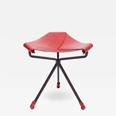 Dan Wenger Quark Stool by Dan Wenger in Red Leather and Steel