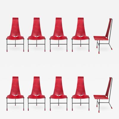 Dan Wenger Set of Ten Dan Wenger Tripod Dining Chairs