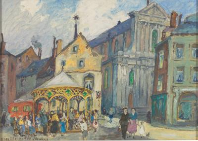 Dandois 1885 1977 Place Lilon Namur Oil on Canvas Framed