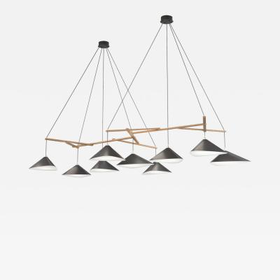 Daniel Becker Monumental Daniel Becker Emily 9 Chandelier in Matte Anthracite with Oak Frame
