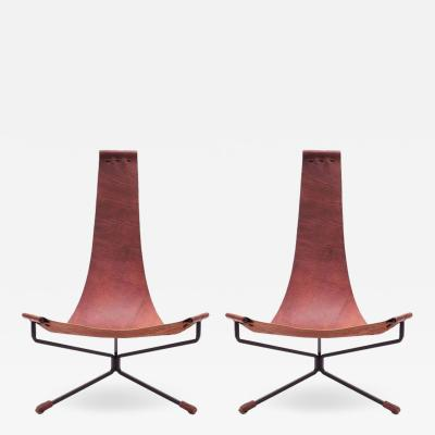 Daniel L Wenger Pair of Dan Wenger Lotus Chair in Leather and Metal
