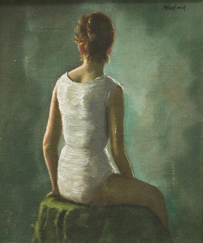 Daniel Mistrik 20th Century Oil Portrait of a Young Woman by Daniel Mistrik 1960s