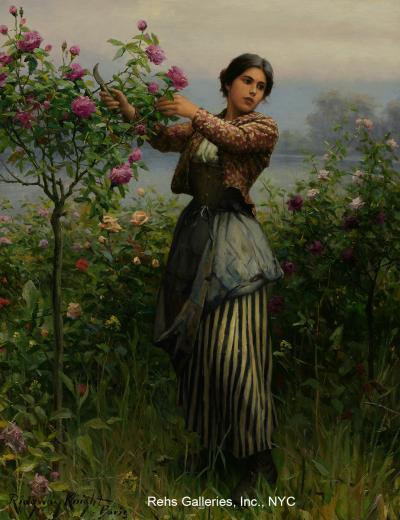 Daniel Ridgway Knight Cutting Roses