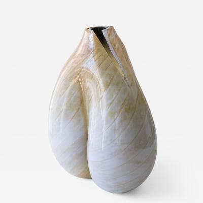 Daniela Busarello MOSE BIANCO BLU GRIGIO ORO Hand Blown Glass Vase