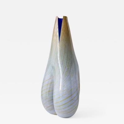 Daniela Busarello MOSE BIANCO BLU ORO Hand Blown Glass Vase
